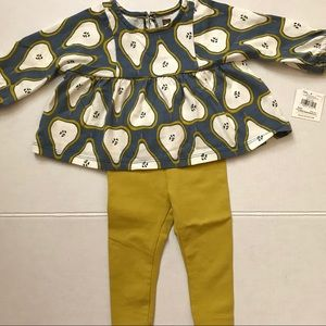 NWT Tea Collection 6-9M Pear Print Top & Bottom